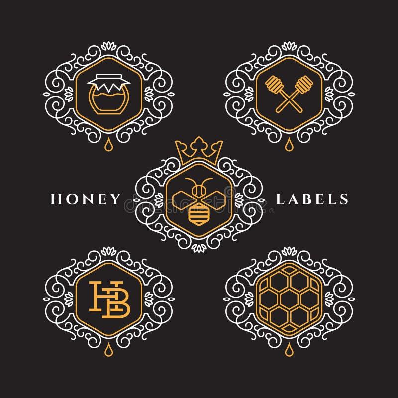 Etiquetas do esboço do mel ilustração stock