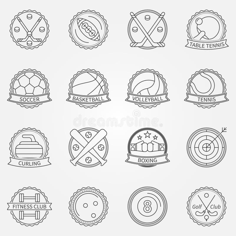 Etiquetas do esporte ilustração do vetor