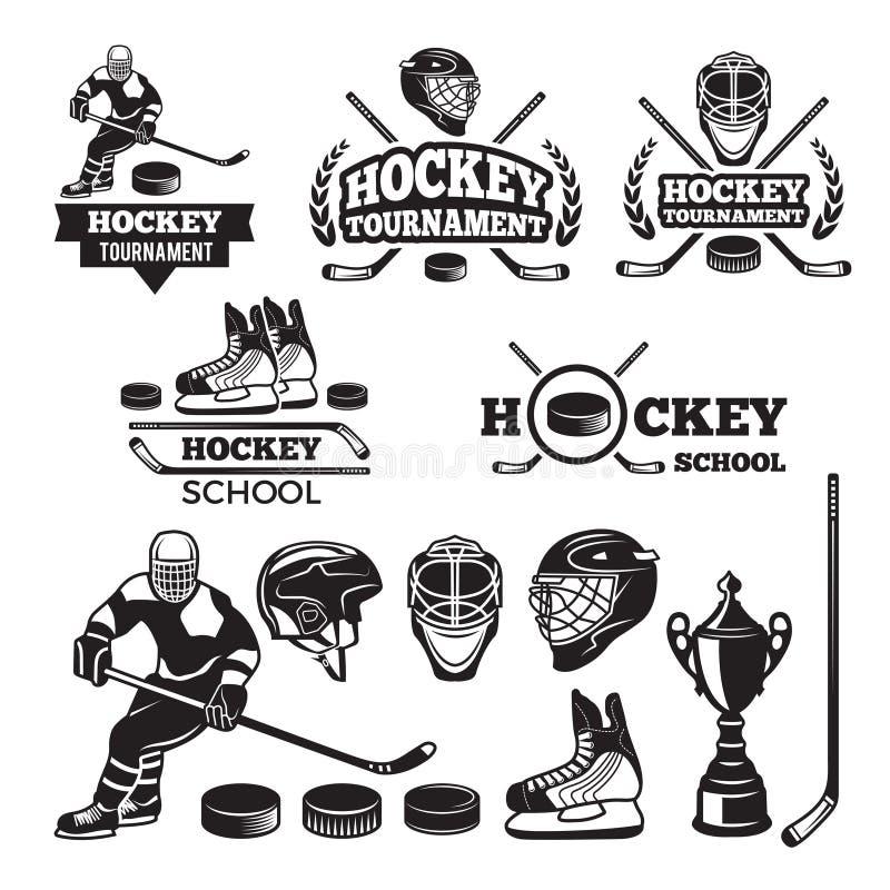 Etiquetas do esporte para a equipa de hóquei Emblemas do vetor ajustados ilustração royalty free