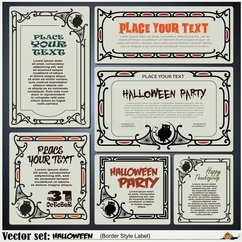 Etiquetas do estilo da beira em assuntos diferentes em um tema de Dia das Bruxas ilustração stock