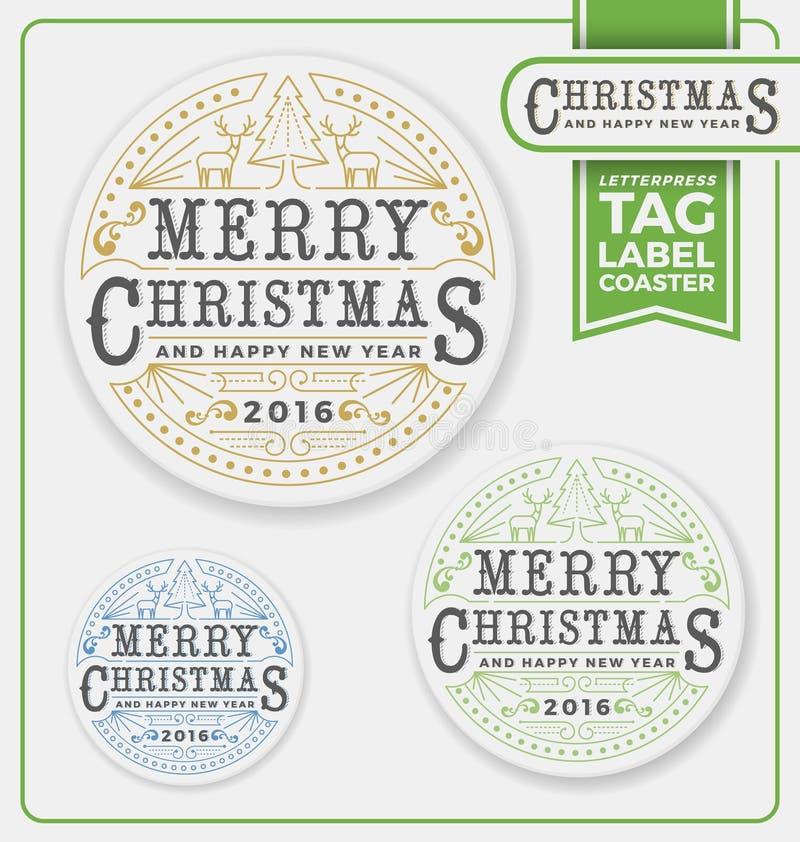 Etiquetas do Feliz Natal, etiqueta, projeto da tipografia da pousa-copos ilustração do vetor