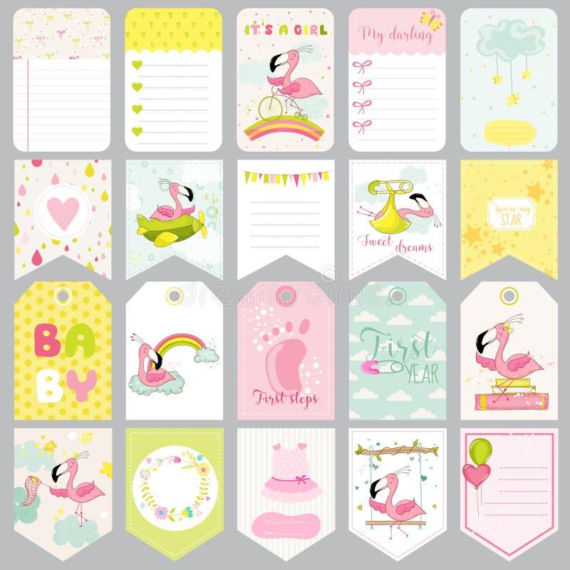 Etiquetas do flamingo do bebê Bandeiras do bebê Etiquetas do álbum de recortes Cartões bonitos ilustração royalty free