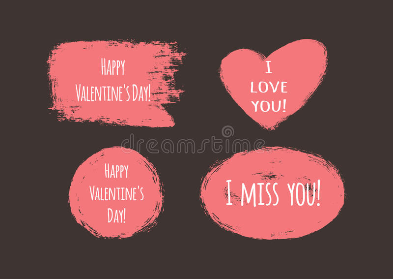 Etiquetas do Grunge com o dia feliz do ` s do Valentim do ` do texto! `, ` eu te amo! `, ` eu falto-o! ` ilustração stock