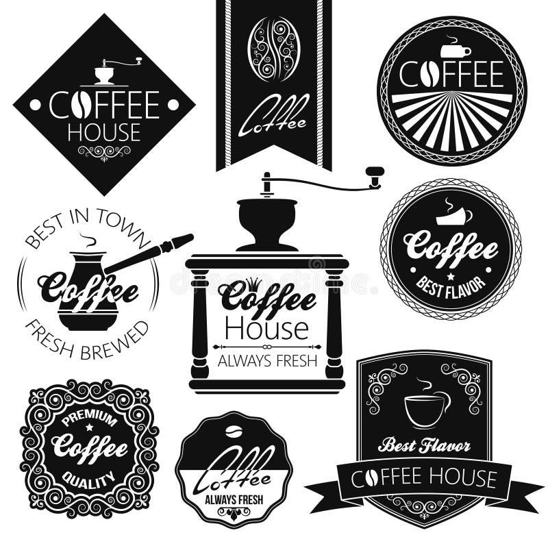 Etiquetas do grupo de café ilustração royalty free