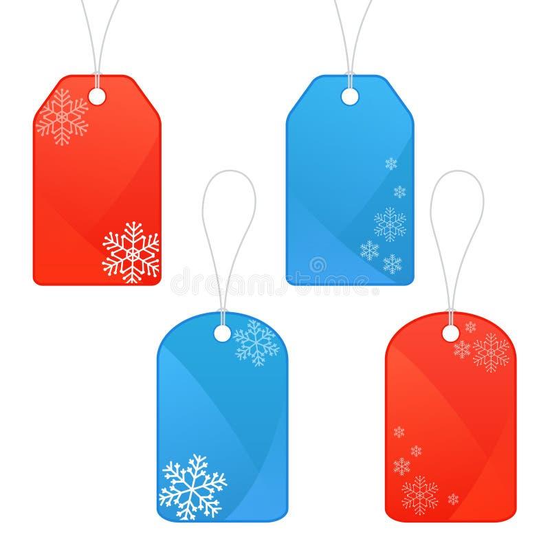 Etiquetas do inverno e do Natal ilustração stock