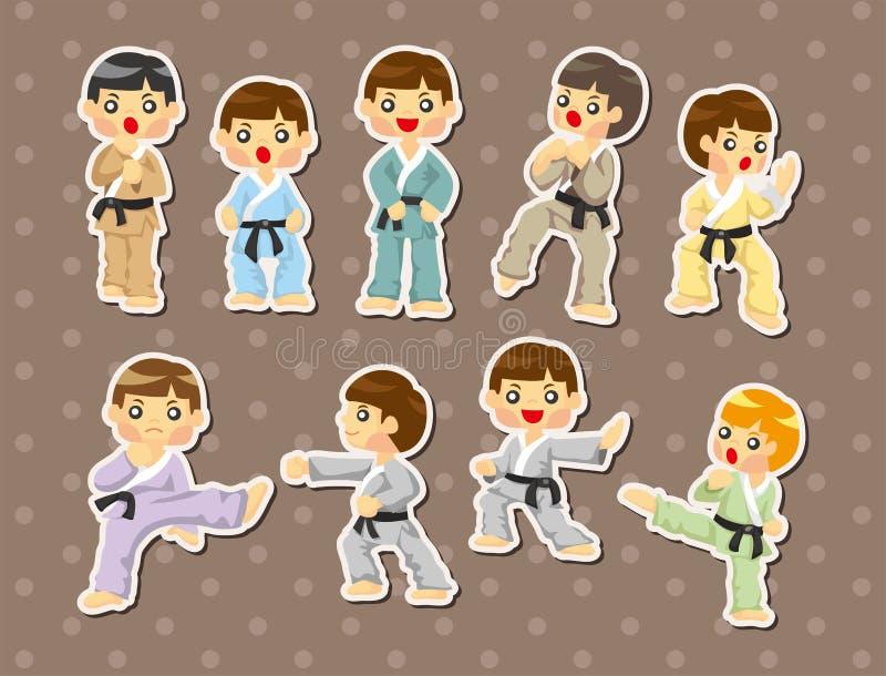 Etiquetas do jogador do karaté dos desenhos animados ilustração do vetor