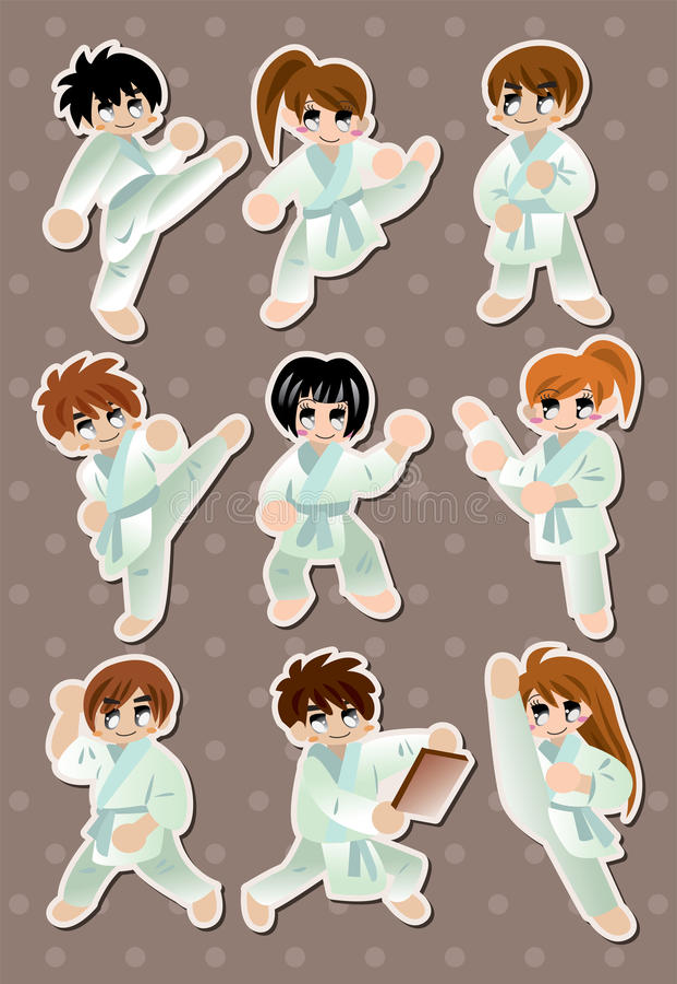 Etiquetas do jogador do karaté dos desenhos animados ilustração stock