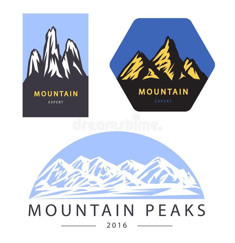 Etiquetas do logotipo do vetor da aventura e da expedição da montanha ilustração royalty free