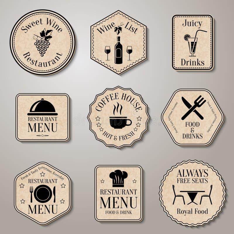 Etiquetas do menu do restaurante ilustração royalty free