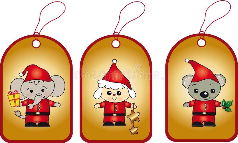 Etiquetas do Natal ilustração do vetor