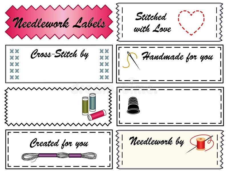 Etiquetas do Needlework ilustração stock