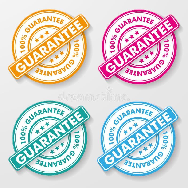 Etiquetas do papel de uma garantia de 100 por cento ilustração royalty free