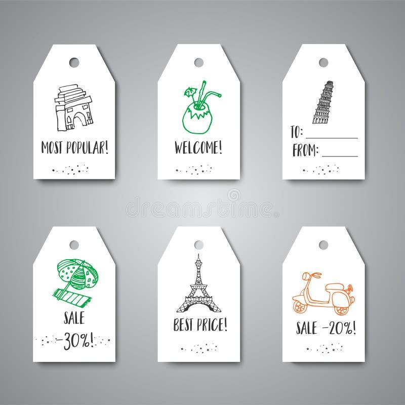 Etiquetas do presente com projeto tirado mão do curso Etiquetas para artigos do turismo Coleção dos printabels A etiqueta com ven ilustração stock