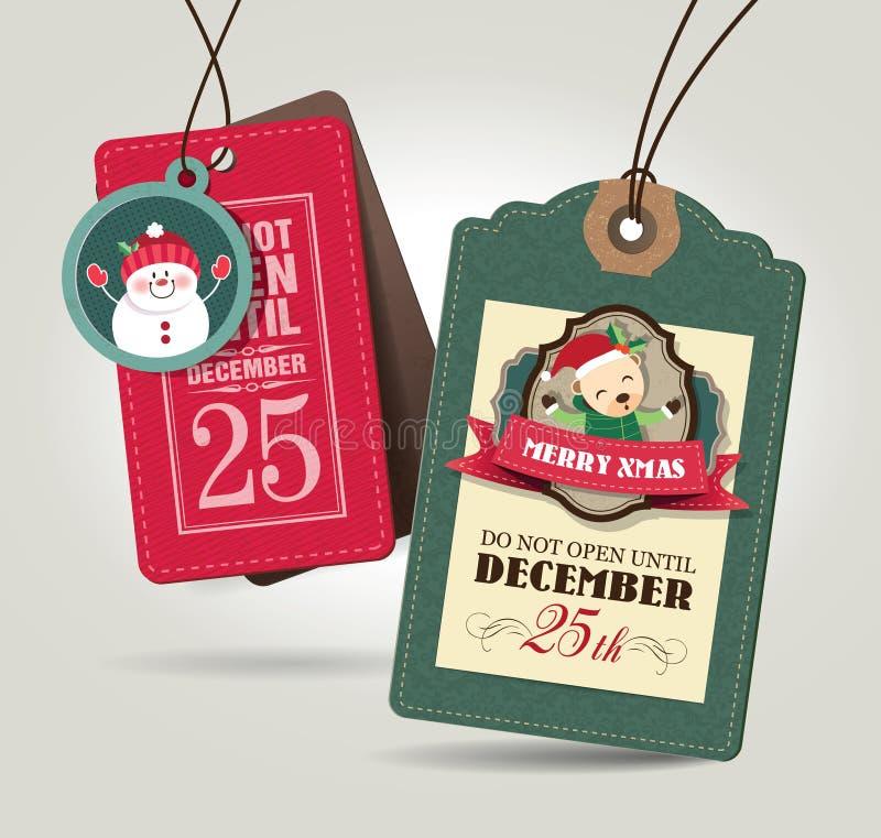 Etiquetas do presente do Natal ilustração do vetor