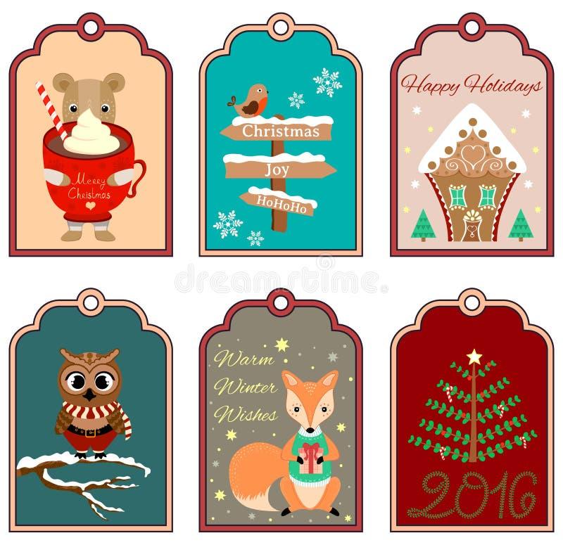 6 etiquetas do presente do Natal com urso, pássaro, casa de pão-de-espécie, coruja, raposa e árvore Grupo de etiquetas do feriado ilustração stock