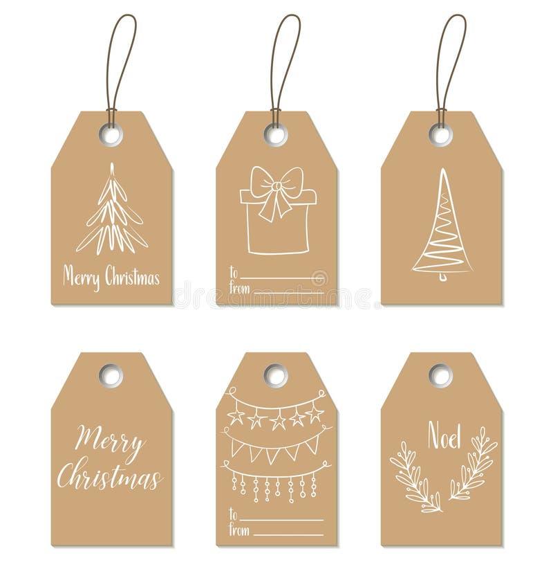 Etiquetas do presente do Natal Etiquetas tiradas mão do ofício ilustração royalty free
