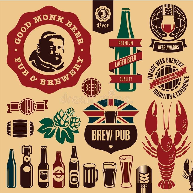 Etiquetas do pub da cerveja ilustração royalty free