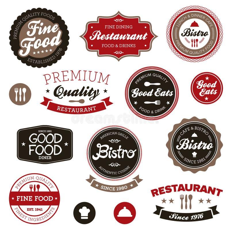 Etiquetas do restaurante do vintage ilustração royalty free