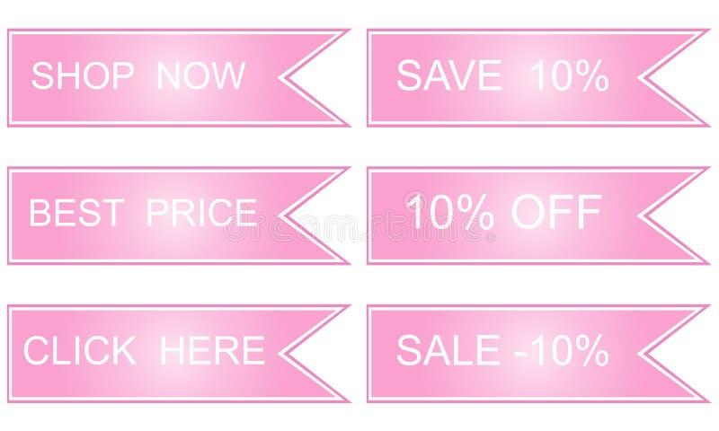 Etiquetas do rosa, o melhor preço, ilustração royalty free