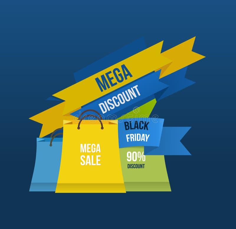 Etiquetas do saco da venda Disconto mega ilustração stock