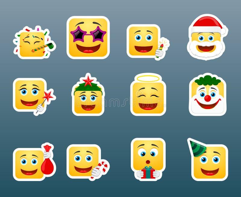 Etiquetas do sorriso das férias do Natal ajustadas ilustração do vetor
