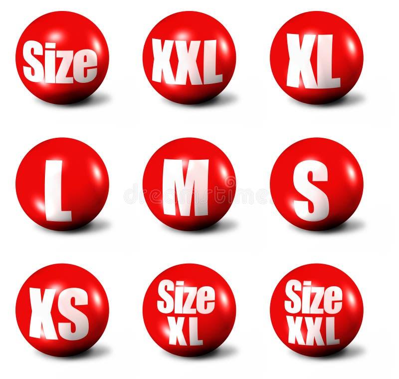 Etiquetas do tamanho da roupa ilustração do vetor