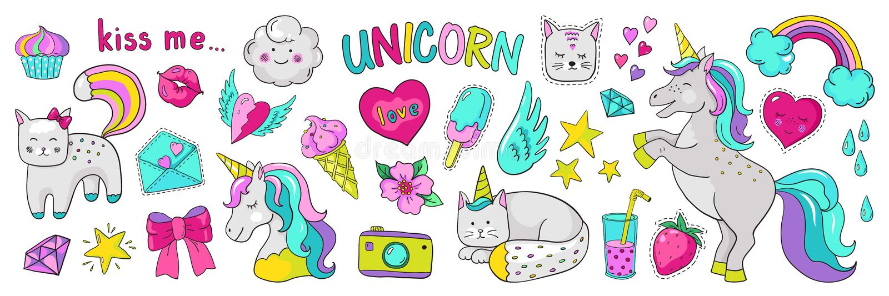 Etiquetas do unicórnio da garatuja Elementos da forma do pop art, ícones 90s cômicos na moda modernos Estrela do coração do gato  ilustração do vetor