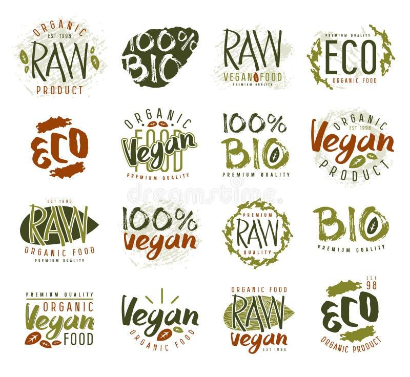 Etiquetas do vegetariano, crachás e elementos crus do projeto ilustração stock