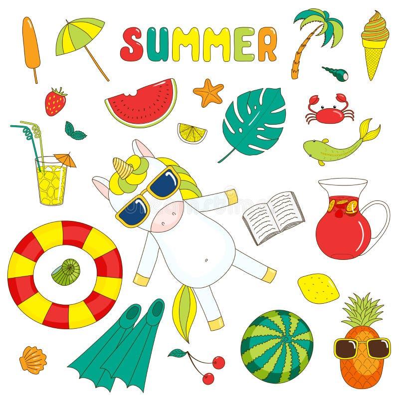 Etiquetas do verão com unicórnio ilustração royalty free