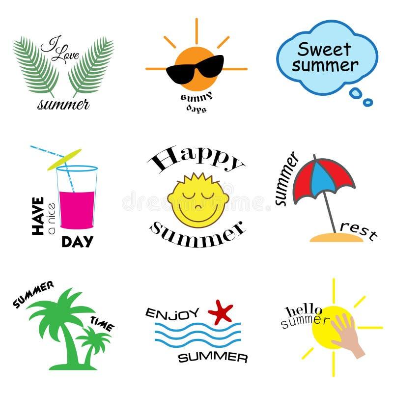 Etiquetas do verão, logotipos, etiquetas e grupo de elementos tirados mão para férias de verão, curso, férias da praia, sol Vetor ilustração stock