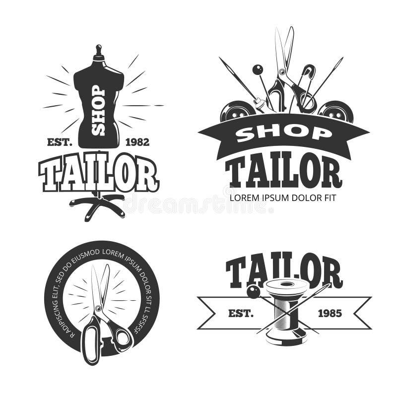 Etiquetas do vetor da loja do alfaiate, crachás, logotipos, emblemas ilustração do vetor