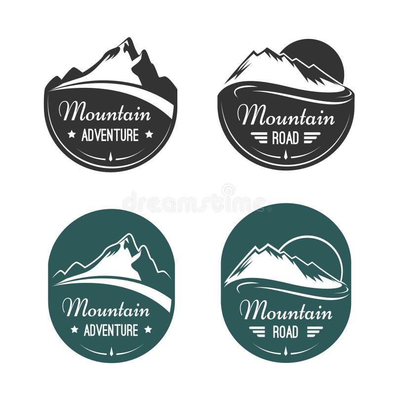 Etiquetas do vetor da montanha ilustração do vetor