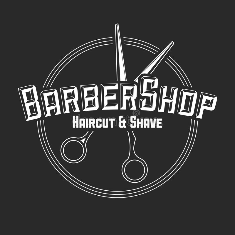Etiquetas do vetor do cabeleireiro no estilo do vintage Beleza e barbearia do corte do cabelo Logotipo do vintage no fundo escuro ilustração do vetor