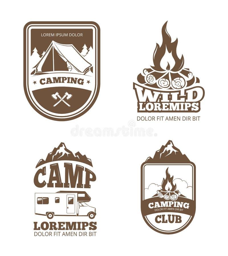 Etiquetas do vetor do vintage da exploração da região selvagem e da natureza, emblemas, logotipos, crachás ilustração stock
