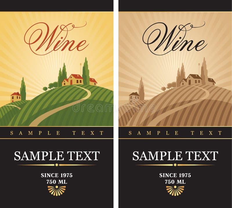 Etiquetas do vinho ilustração royalty free