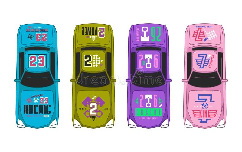 Etiquetas do vinil no carro de corridas ilustração stock