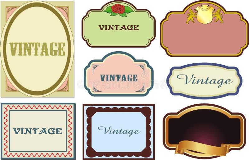 Etiquetas do vintage ilustração stock