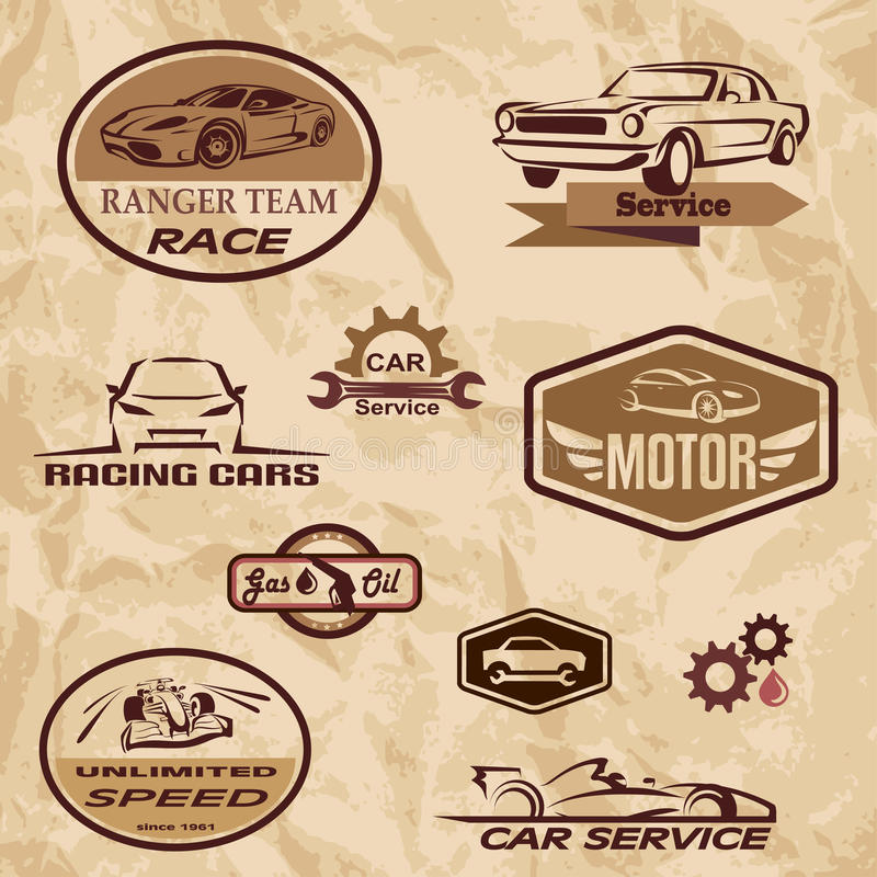 Etiquetas do vintage dos carros de competência ilustração royalty free