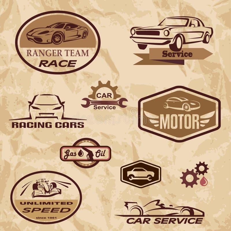 Etiquetas do vintage dos carros de competência