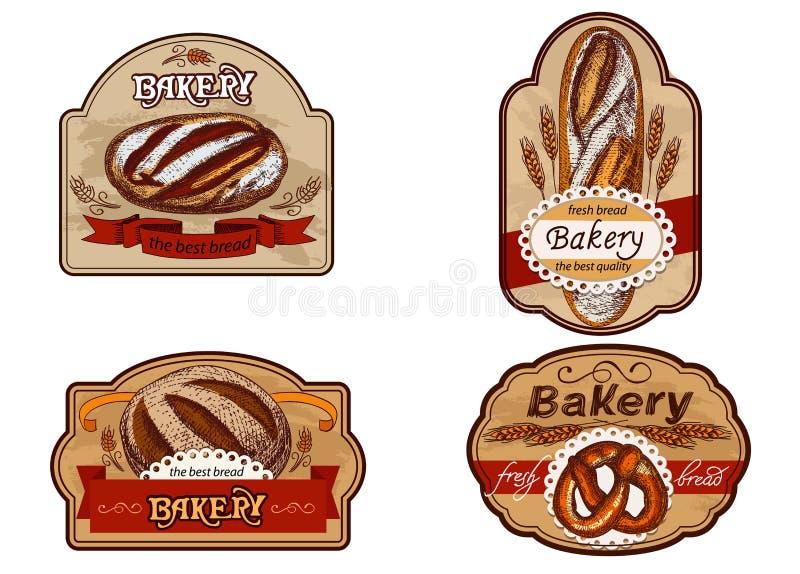 Etiquetas do vintage para a padaria ilustração stock