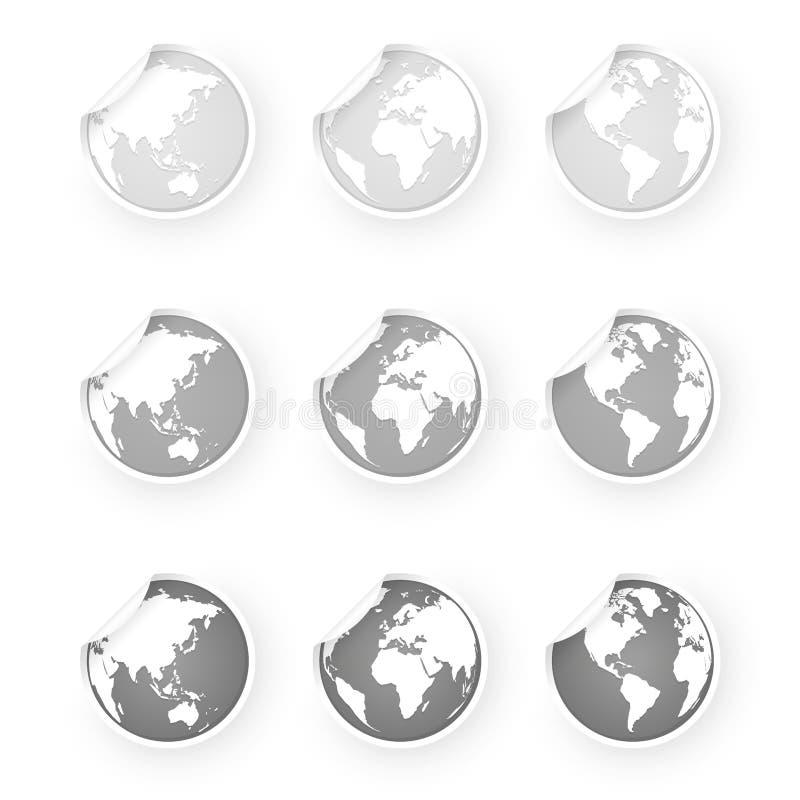 Etiquetas dos ícones do globo do mundo do cinza de prata ajustadas ilustração stock