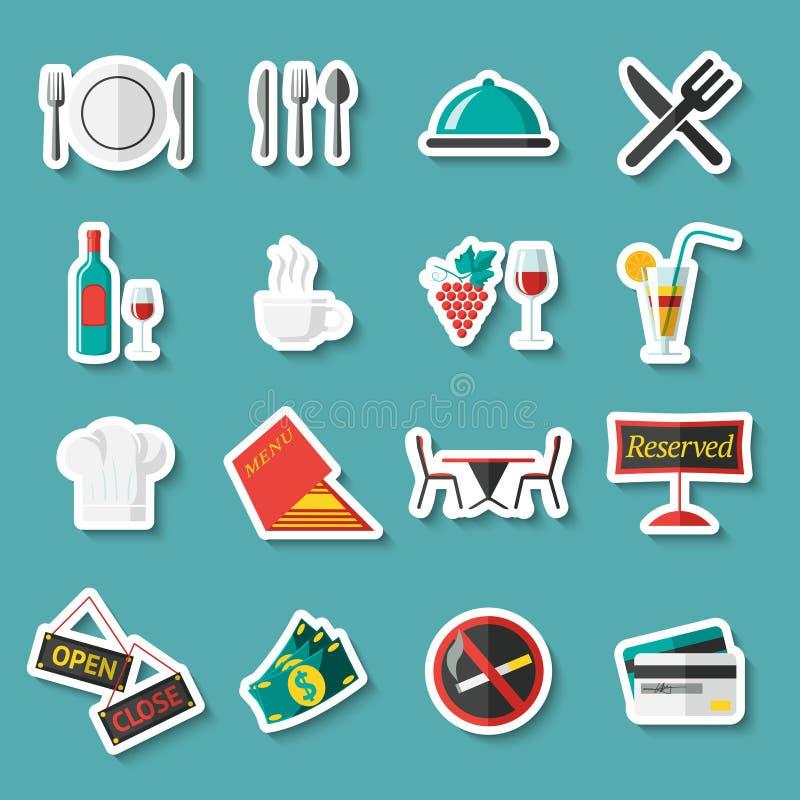 Etiquetas dos ícones do restaurante ilustração stock