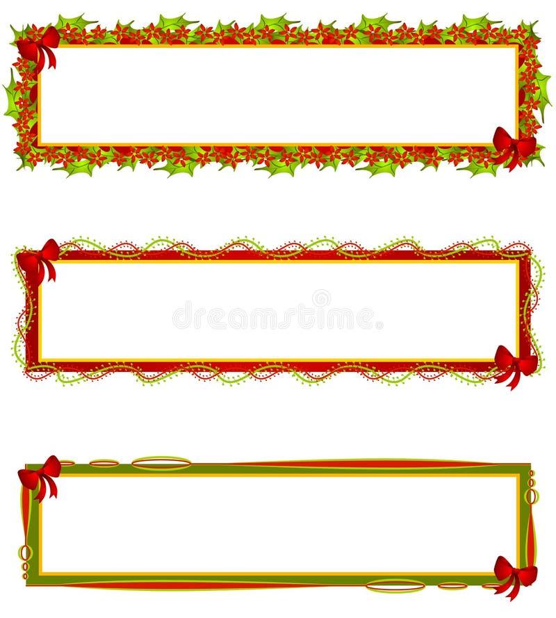 Etiquetas dos logotipos das bandeiras do Natal ilustração do vetor