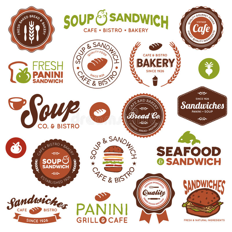 Etiquetas dos restaurantes do sanduíche ilustração royalty free