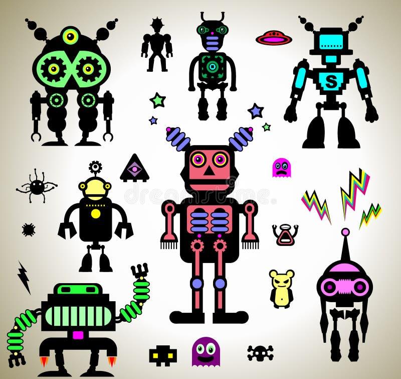 Etiquetas dos robôs ilustração stock