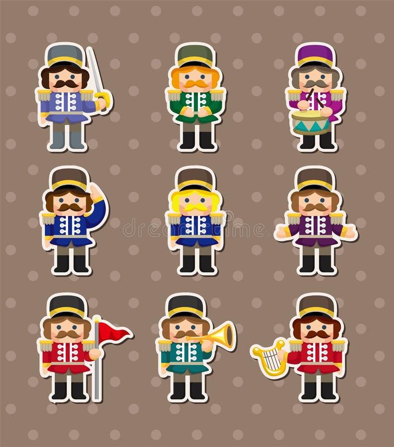 Etiquetas dos soldados de brinquedo dos desenhos animados ilustração royalty free