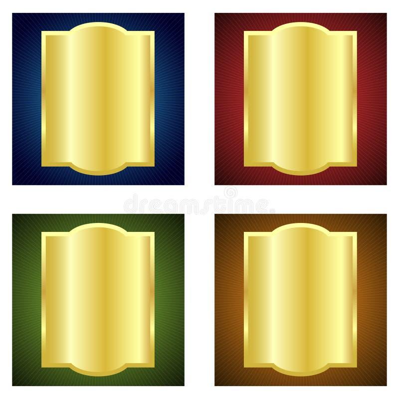 Etiquetas douradas ilustração stock