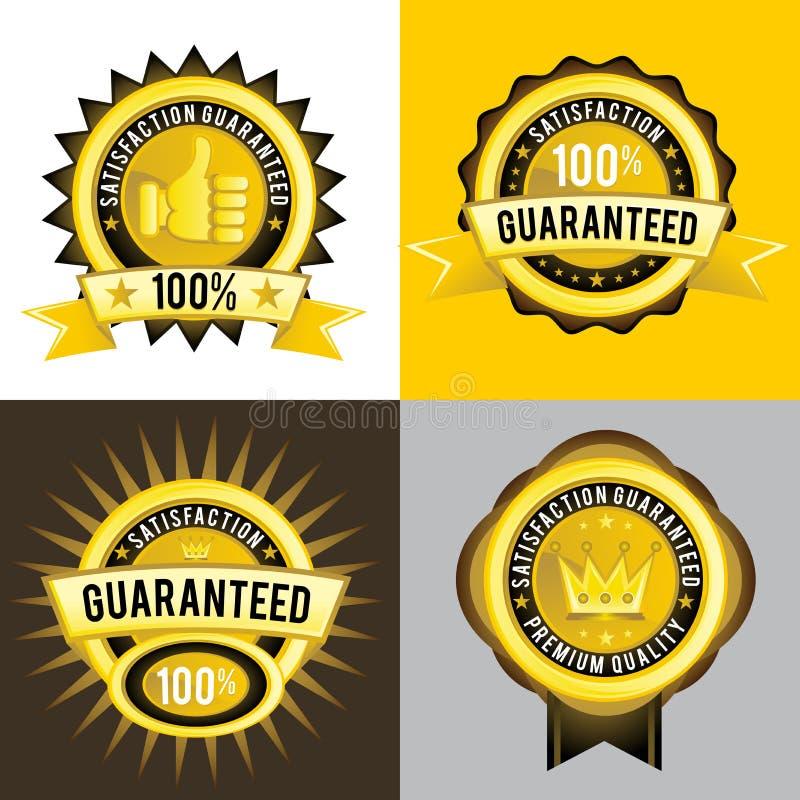 Etiquetas douradas da qualidade garantida e superior da satisfação ilustração royalty free