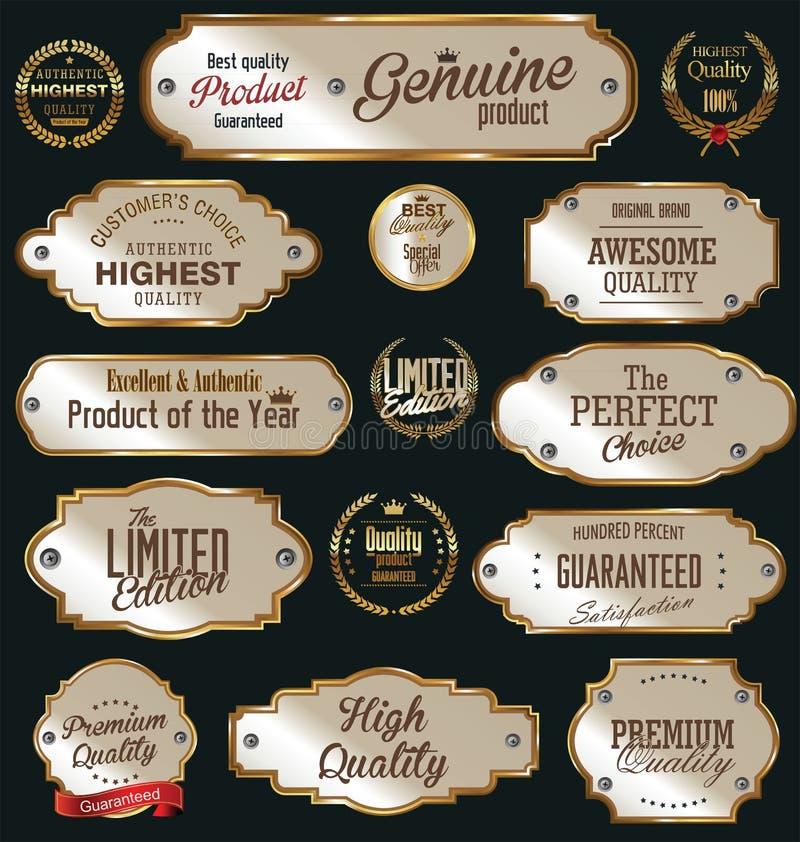 Etiquetas douradas da qualidade superior ilustração stock