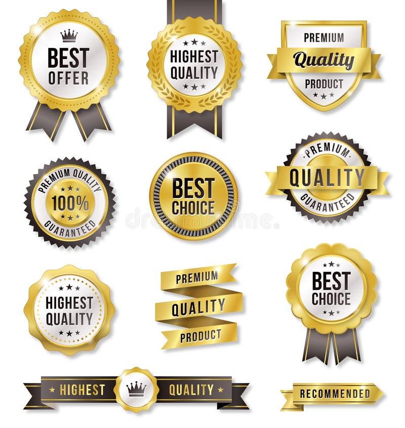 Etiquetas douradas do anúncio publicitário do vetor ilustração royalty free